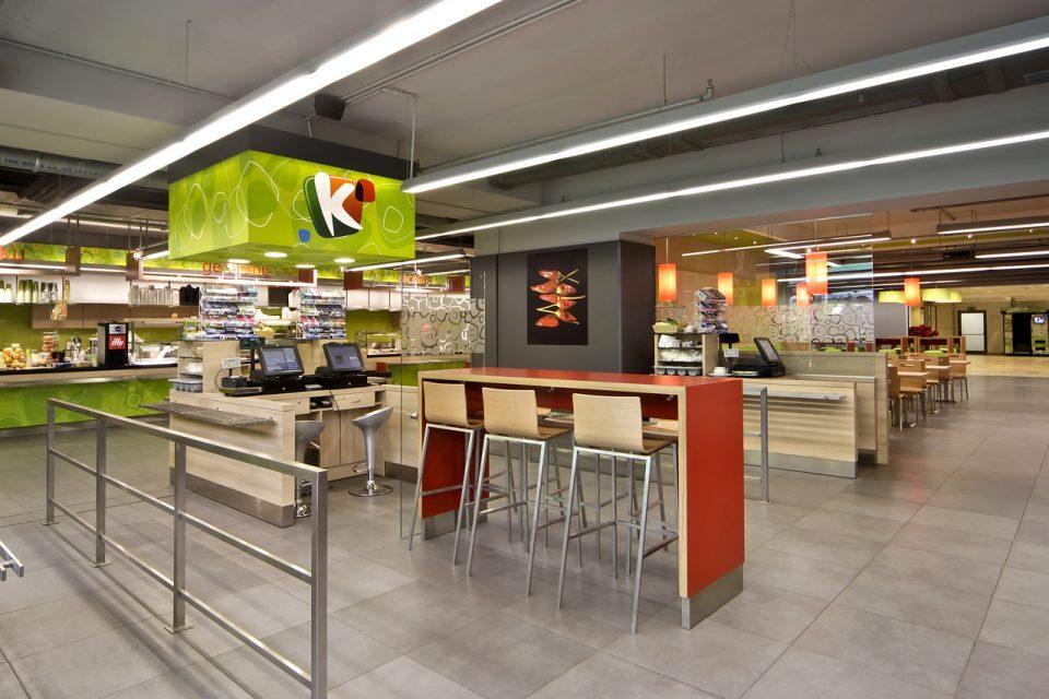 """Заведения за бързо обслужване """"К-express"""" в бизнес център """"Камбаните"""", The Mall – София, Хипермаркети Кауфланд."""